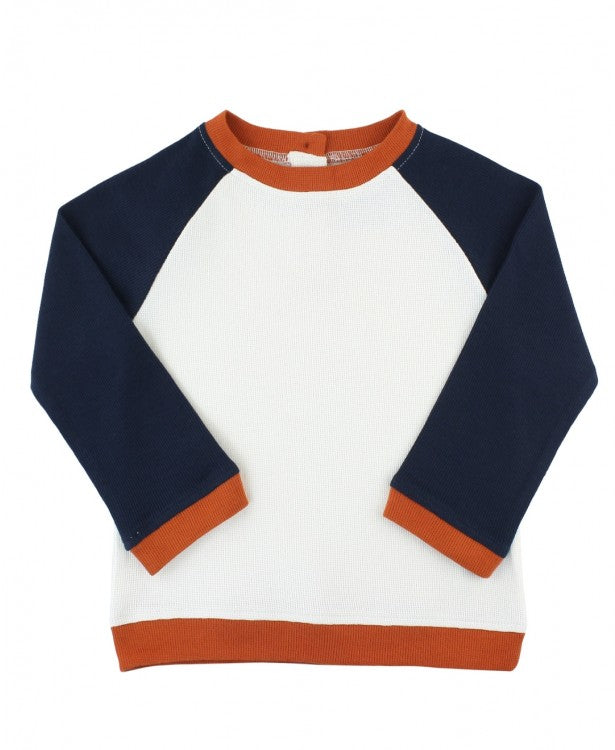 NAVY COLORBLOCK RAGLAN SWEATSHIRT