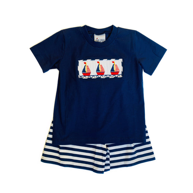NAVY SAILBOAT SHORT SET