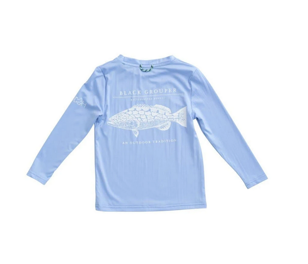 GROUPER L/S PERFORMANCE TEE IN BLUE JAY