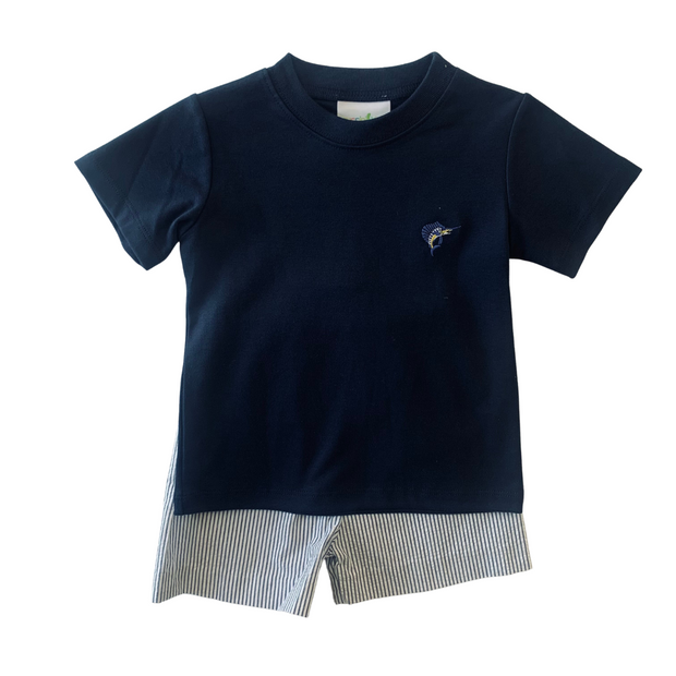 SWORDFISH EMBROIDERED SHORT SET