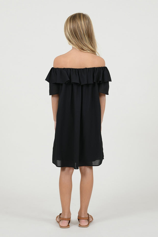 BLACK OFF THE SHOULDER RUFFLE DRESS