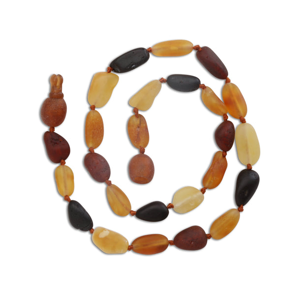 AMBER TEETHING NECKLACE IN UNPOLISHED MULTI