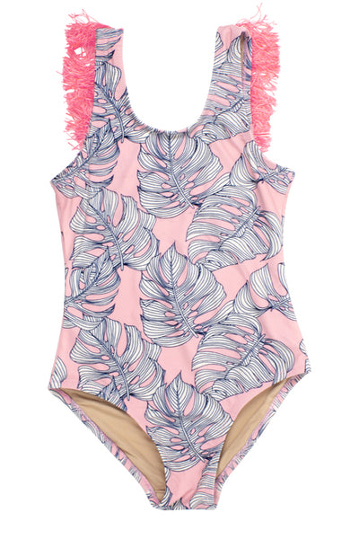 PINK MONSTERA FRINGE ONE PIECE