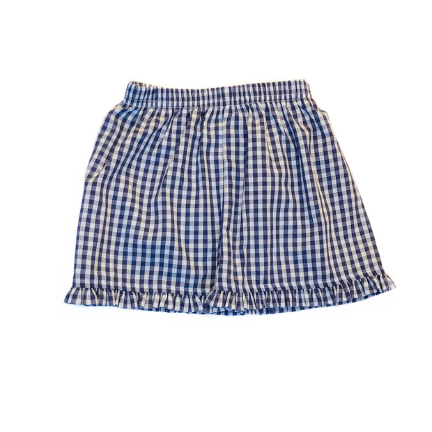 NAVY GINGHAM RUFFLE SHORTS