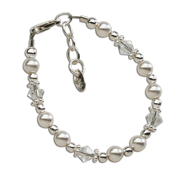 HOPE STERLING SILVER PEARL & CRYSTAL BRACELET