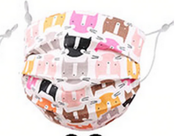 KIDS KITTEN FABRIC FACE MASK