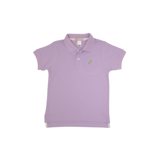 PRIM & PROPER POLO IN LAUDERDALE LAVENDER WITH MARIETTA MINT STORK