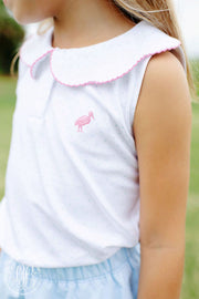 PAIGES PLAYFUL POLO IN BUCKHEAD BLUE WITH HOT PINK STORK