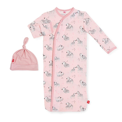 PINK LITTLE ONES MODAL SACK GOWN & HAT SET