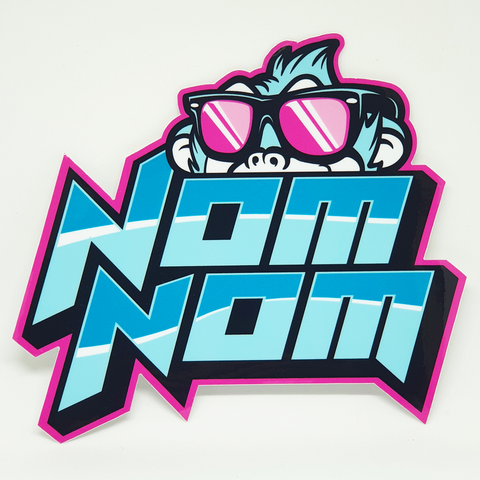 Nom Nom Neon Blue Sticker