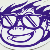 Flaming Monky White / Purple Sticker