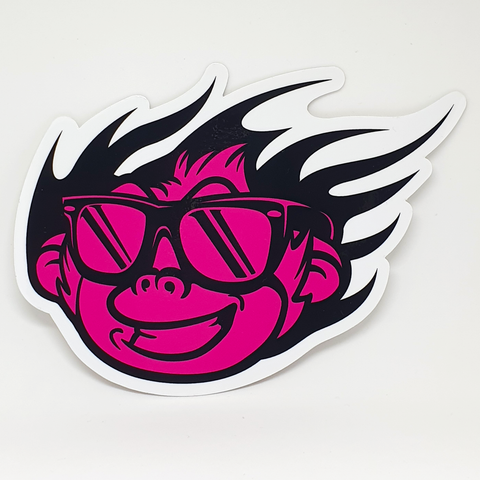 Flaming Monky Pink / Black Sticker