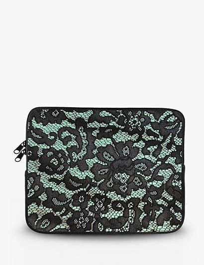 Mint Lace Print Ipad Sleeve