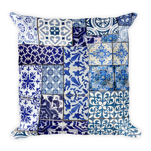 Blue Tiles Square Pillow