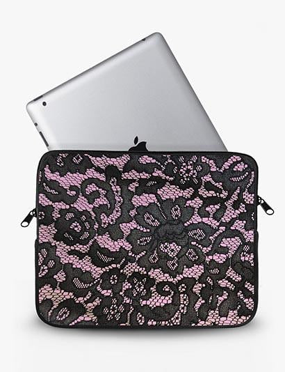 Pink Lace Print Ipad Sleeve