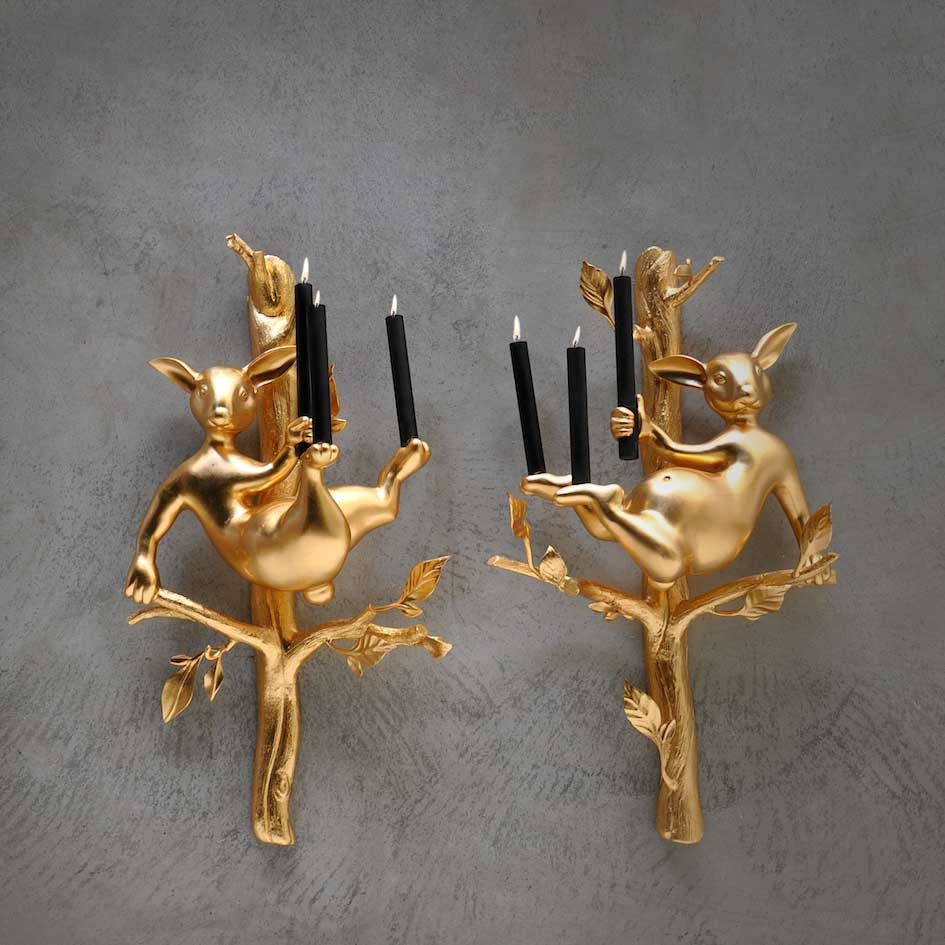 Twenty First Gallery Hubert Le Gall Odilon Gold Sconce Wall Light