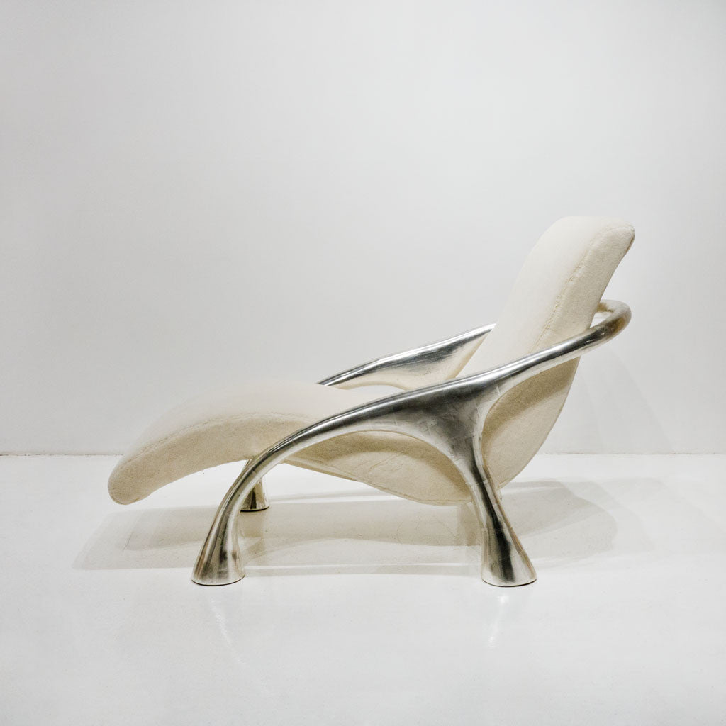 Twenty First Gallery Saccamanno Dayot Yaka Oak Arm Lounge Chaise