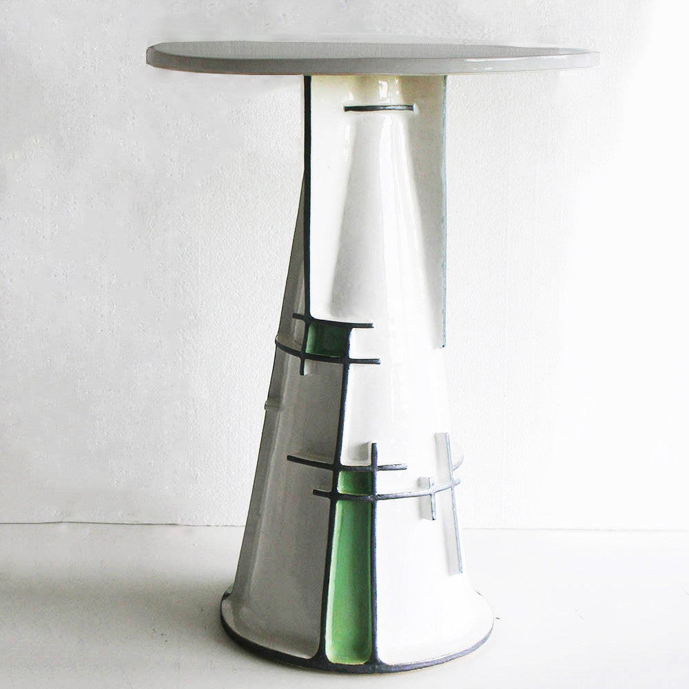 Twenty First Gallery Francois Salem Blanc Noir Vert Side Table Ceramic