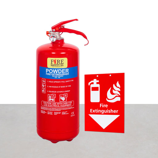 Fire Extinguisher and Hanging Signage Set (1x 3kg AB Powder + 1x Hanging Signage)
