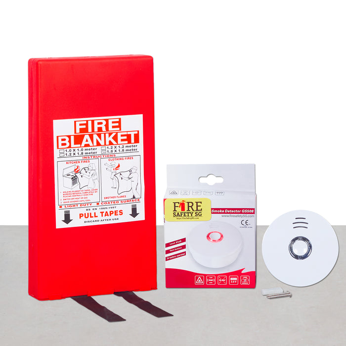 Fire Safety Kit (1x Fire Blanket 1.2m x 1.8m + 1x Smoke Detector 10 Years)