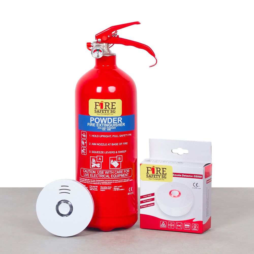 Home Fire Alarm Device (10 Years) & 2KG Home Fire Extinguisher Set (1pc each)