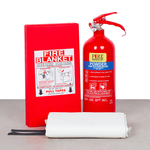 Home Fire Extinguisher Kit (1x 2kg ABC Powder + 1x  Fire Blanket 1.8m x 1.8m)