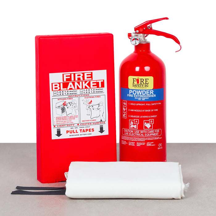 Home Fire Extinguisher Kit (1x 2kg AB Powder + 1x  Fire Blanket 1.2m x 1.8m)