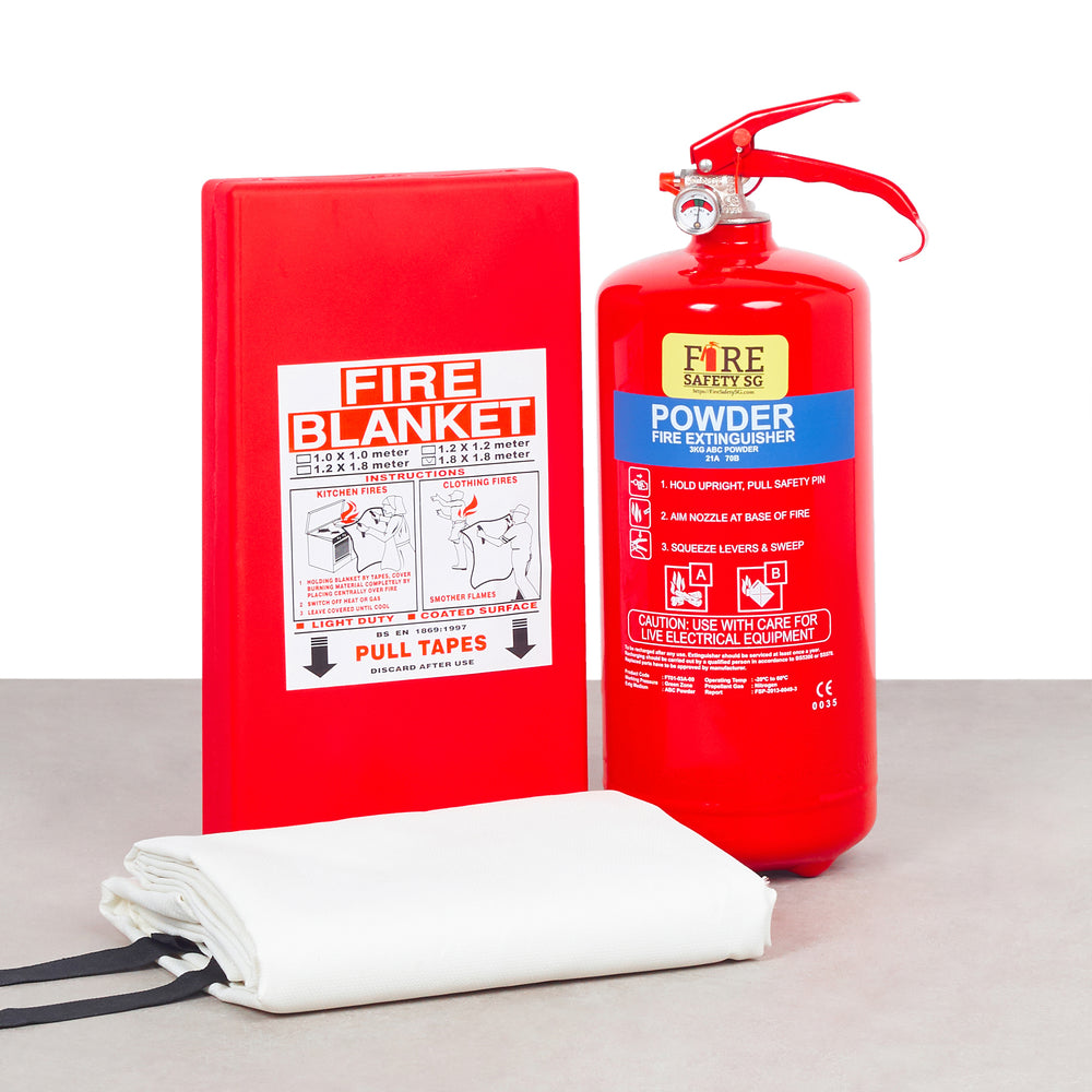 Home Fire Extinguisher Set (1x 3kg AB Powder + 1x  Fire Blanket 1.2m x 1.8m)