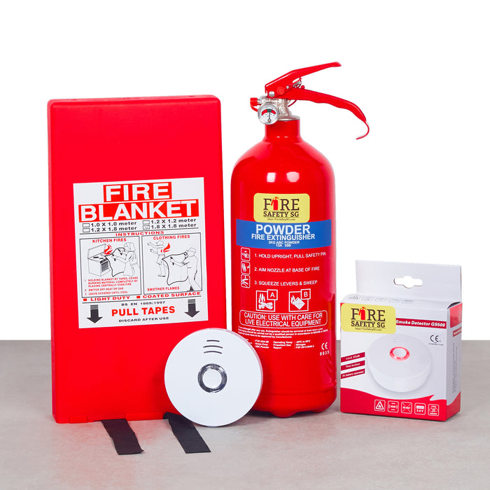 Home Fire Safety Kit Lite (1x 1kg AB Powder + 1x  Fire Blanket 1.8m x 1.8m + 1x Home Fire Alarm Device 10 Years)