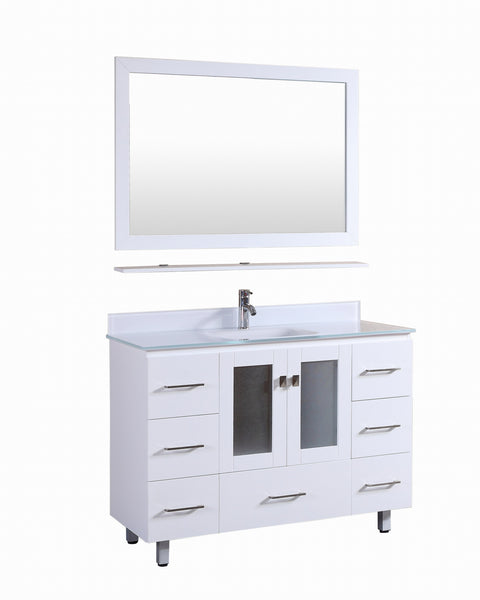 Vanity # T48108WT  Modern White Vanity with S-White Glass Top