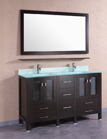 Vanity # T60109ES  Modern Espresso Vanity with G- White Glass Top and Integrated Sink