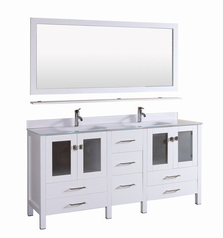 Vanity # T72110WT  Modern White Vanity with S-White Glass Top