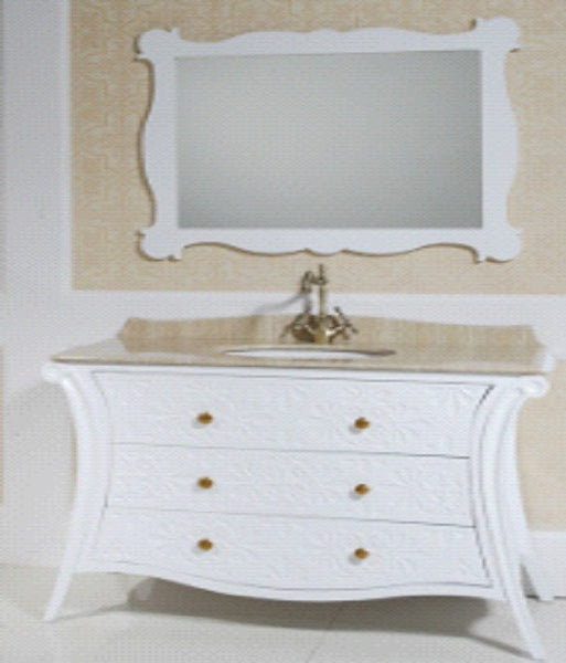 Xava Traditional White Vanity with Marble Counter Top