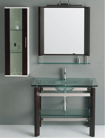 "12027 Modern Tempered Glass and Black Vanity - Width 35"" x Depth 22"" x Height 33"""