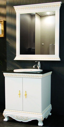 "12171-1. 39-3/8"" - 20-7/8"" - 33-4/8"" Traditional White Vanity with Gold Color Detailing"