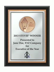 2013 Bronze Stevie Black Wood Plaque