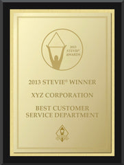 2013 Gold Stevie Black Wood Plaque