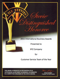 2011 Distinguished Honoree Certificate