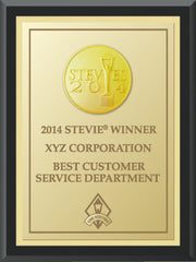2014 Gold Stevie Black Wood Plaque