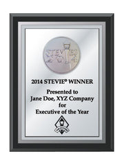2014 Silver Stevie Black Wood Plaque