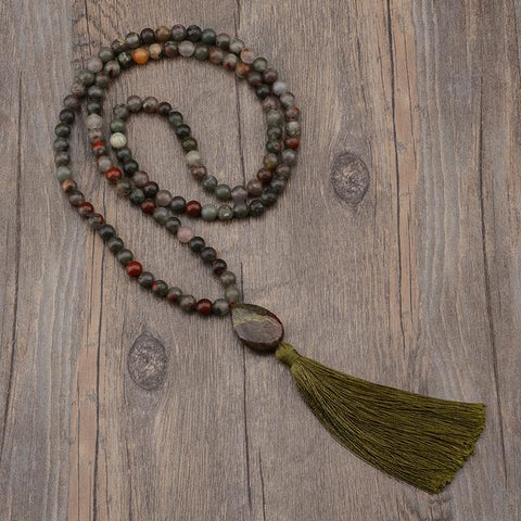 green mala beaded necklace