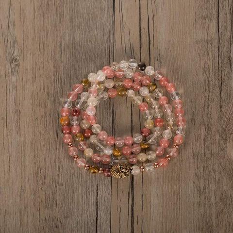 watermelon pink red 108 bead bracelet