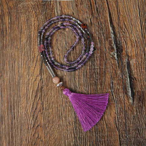 purple beaded necklace