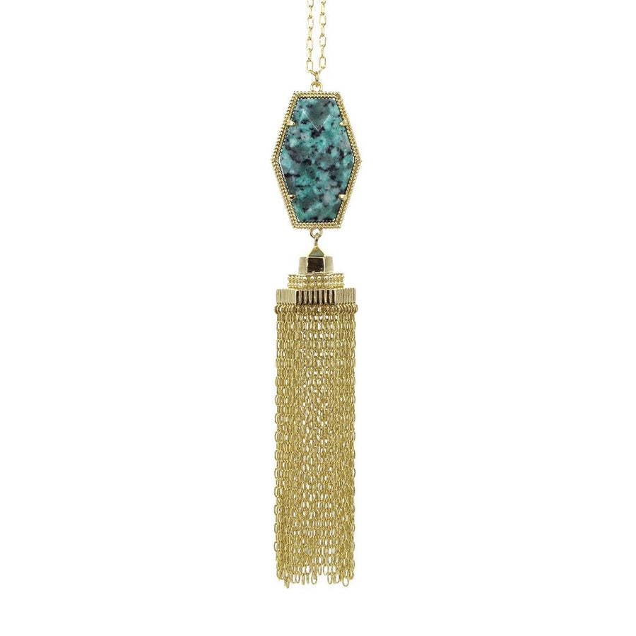 Alexa Tassel Necklace in African Turquoise