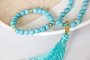 Protective Turquoise Mala Necklace