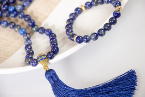 Divine Lapis Mala Necklace