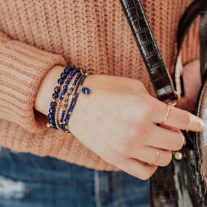 Parker Beaded Bracelet Set in Lapis - Platinum