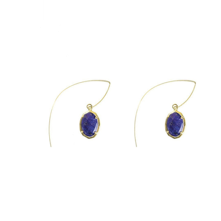 Jada Threaded Stone Earrings in Lapis
