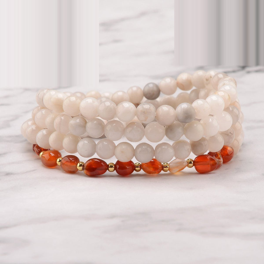 Fiery Frequency 108 Bead Bracelet Mala