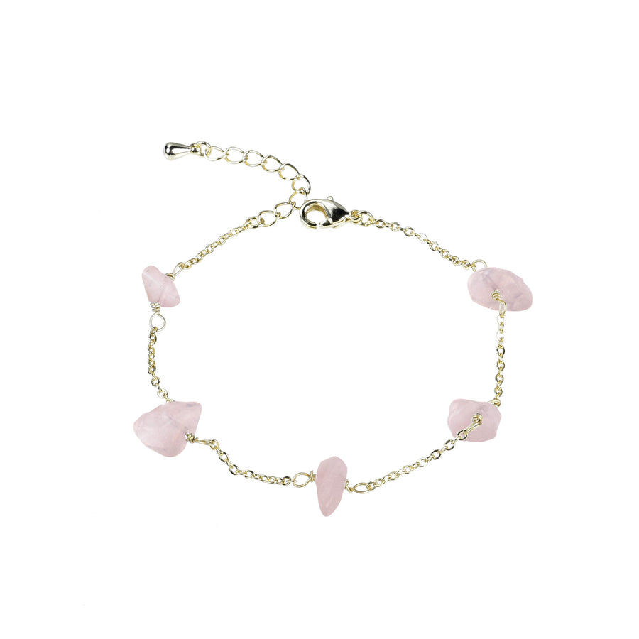 Rose Quartz Sphatika Crystal Bracelet Gold